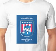 Patriots Day Greeting Card American Patriot Bust Shield Unisex T-Shirt