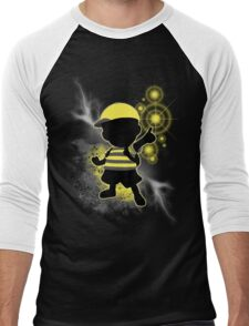 Super Smash Bros. Yellow/Black Ness Sihouette Men's Baseball ¾ T-Shirt