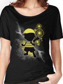 Super Smash Bros. Yellow/Black Ness Sihouette Women's Relaxed Fit T-Shirt