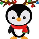 Christmas penguin dressed as Santa's reindeer by Sandytov
