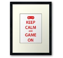 KEEP CALM and GAME ON (red) Framed Print