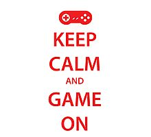 KEEP CALM and GAME ON (red) Photographic Print