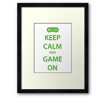 KEEP CALM and GAME ON (green) Framed Print
