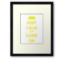 KEEP CALM and GAME ON (yellow) Framed Print