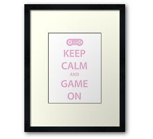 KEEP CALM and GAME ON (pink) Framed Print