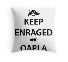 KEEP ENRAGED and QAPLA (black) Throw Pillow