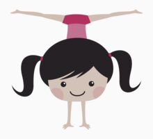 Gymnast girl doing handstand and side splits by MheaDesign