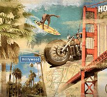 California Collage Art by MuralDecal