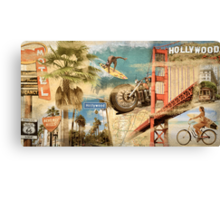 California Collage Art Canvas Print