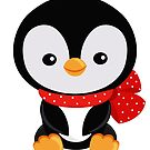 Christmas penguin with a red bow polka dot  by Sandytov