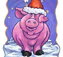 Pig Christmas Card by Traci VanWagoner