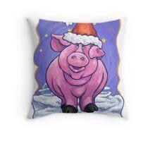 Pig Christmas Card Throw Pillow