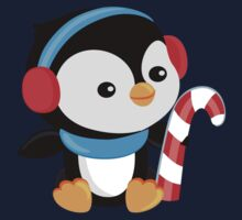 Christmas Penguin boy with candy Kids Tee