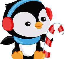 Christmas Penguin boy with candy by Sandytov