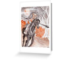 The Headless Horseman Watercolor Painting Greeting Card