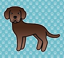 Chocolate Labrador Retriever Cartoon Dog by destei