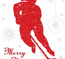 Hockey Christmas Card Red Snowflake Border - Female by SaucyMitts