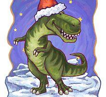 Tyrannosaurus Christmas Card by Traci VanWagoner
