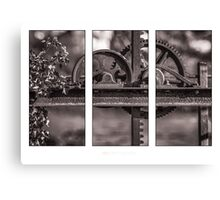 Triptych of old Irrigation gate Canvas Print