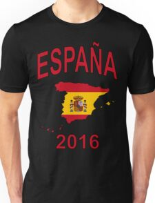 ESPAÑA 2016 - Spain Country Map Outline with Spanish Flag as Background - Red on Yellow  Unisex T-Shirt