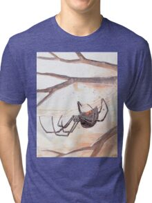 Black Widow Spider Watercolor Tri-blend T-Shirt