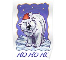 Polar Bear Christmas Card Poster
