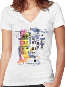 Maisons Suspendu, Pont-en-Royans, France Women's Fitted V-Neck T-Shirt