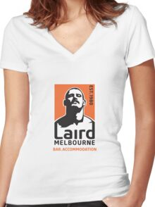 Laird Logo 'Stache' by Chris Lopez Women's Fitted V-Neck T-Shirt