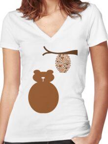 Bear Love Women's Fitted V-Neck T-Shirt