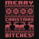 Merry Christmas Bitches 8-Bit Ugly Sweater Pattern by RexLambo