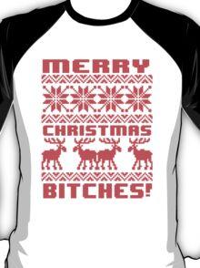 Merry Christmas Bitches 8-Bit Ugly Sweater Pattern T-Shirt