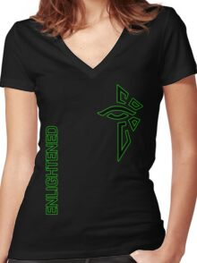 Ingress Enlightened with text Women's Fitted V-Neck T-Shirt