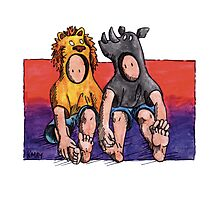 KMAY Hoodkid Lion & Rhino Friends Photographic Print