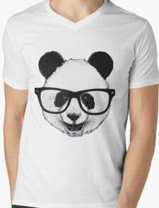 Hipster Panda Mens V-Neck T-Shirt