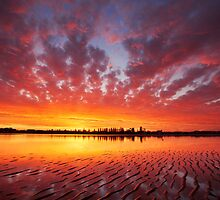 Vibrant sunset over North Creek in Ballina, NSW by Dave Ellem