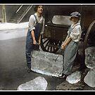 Girls Delivering Ice, 1918 by Dana Keller