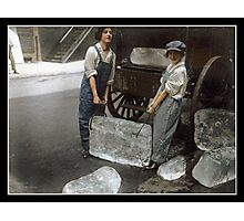 Girls Delivering Ice, 1918 Photographic Print