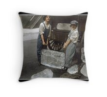 Girls Delivering Ice, 1918 Throw Pillow