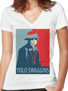 Yolo Swaggins Women's Fitted V-Neck T-Shirt