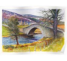 Gairnshiel Bridge on the River Gairn in Scotland Poster
