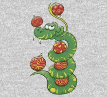 Green Snake Celebrating Christmas Kids Tee
