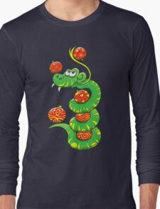Green Snake Celebrating Christmas Long Sleeve T-Shirt