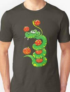 Green Snake Celebrating Christmas Unisex T-Shirt