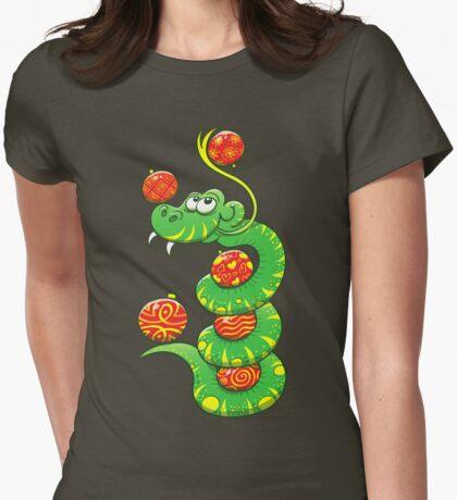 Green Snake Celebrating Christmas Womens Fitted T-Shirt
