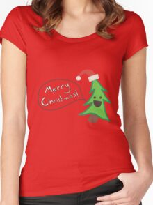 Merry Christmas Tree Women's Fitted Scoop T-Shirt