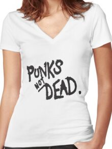 PUNK IS NOT DEAD Women's Fitted V-Neck T-Shirt