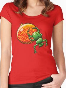 Beetle Pushing a Christmas Ball Women's Fitted Scoop T-Shirt