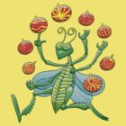 Green Grasshopper Juggling Christmas Balls by Zoo-co