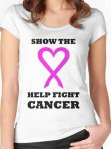 Show the LOVE Cancer 01BL Women's Fitted Scoop T-Shirt