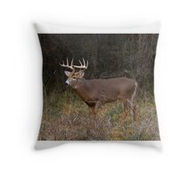 On the hunt - White-tailed deer Buck Throw Pillow